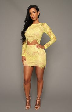 Yellow Lace Dress / Skirt YELLOW lace top and bottom skirt set **Does not stretch*** Brand new with original tags boutique Dresses Yellow Lace Dresses, Cute Dresses, Hot Outfits, Swag Outfits, Ebony Women, Beautiful Black Women, Fashion Killa, Boutique Dresses, Spring Summer Fashion