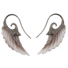 Fly Me to the Moon Wing Botswana Agate Diamond Gold Earrings 1