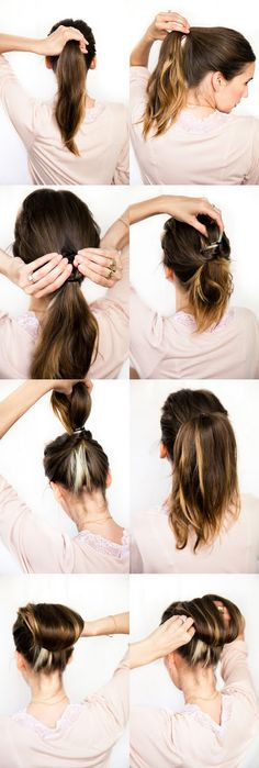 Cute hair how to. -I just did this (except the retarded bun part at the end) and my hair looks super cute, volume and kinda sticks up so you don't have a plain pony