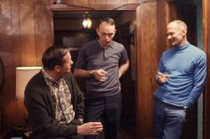 Apollo 11 crew, Armstrong, Collins, & Aldrin chat over drinks in Houston, 1969. Photograph by Ralph Morse.