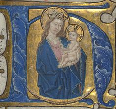 Illuminated Manuscript, Book of Hours in Dutch, Initial H with the Apocalyptic Madonna and Child, Walters Manuscript W.918, fol. 14r detail | par Walters Art Museum Illuminated Manuscripts