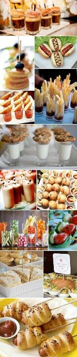 .Dinner rolls with frankfurts, chocolate mousse in shot glasses