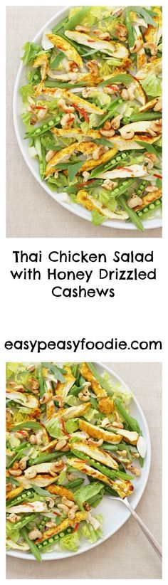 This Thai Chicken Salad is delicious, easy to make and super healthy. The honey drizzled cashews add a touch of extra yumminess as well as even more goodness. #salad #chickensalad #thaichickensalad #easychickensalad #lowcarbchickensalad #lunchbox #glutenfree #dairyfree #lowcarb #easyentertaining #easymidweekmeals #easymeals #midweekmeals #easydinners #dinnertonight #dinnertonite #familydinners #familyfood #easypeasyfoodie #cookblogshare Yummy Chicken Recipes, Yum Yum Chicken, Great Recipes, Favorite Recipes, Salad Recipes, Healthy Recipes, Healthy Food, Thai Recipes, Healthy Meals