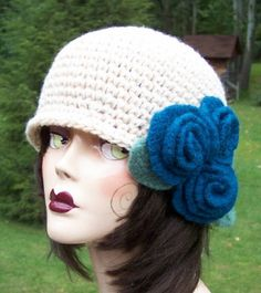 Roses on Ivory cloche turquoise felted wool roses-maryannkaelin