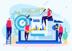 Analysis of business objectives flat background with human characters target with arrow and charts vector illustration Flat Illustration, Illustrations, Human Vector, Social Media Usage, Flat Background, Fundamental Analysis, Digital Image, Charts, Arrow