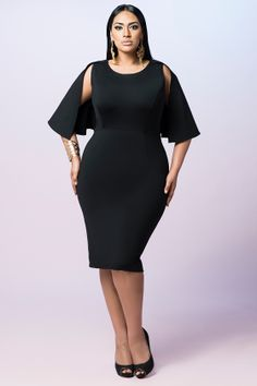 6375b1fb325 Z BLACK LABEL Mini Cape Dress Plus Size Fashion For Women