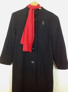fd76b3f50c6 Vintage Andrea Marin New York Coat Size 18 Black Wool Union Made USA + Pin  Scarf