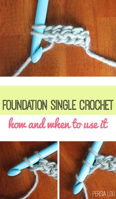 Persia Lou: Foundation Single Crochet (FSC) Photo Tutorial - her writing style is adorable Foundation Single Crochet (FSC) Photo Tutorial I have such a hard time with this stitch! The Foundation Single Crochet replaces chaining when starting a new cr Single Crochet Stitch, Double Crochet, Easy Crochet, Crochet Hooks, Chunky Crochet, Crochet Blankets, How To Single Crochet, Crochet Chain Stitch, Crochet Basics