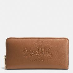 The Embossed Horse And Carriage Accordion Zip Wallet In Leather from Coach
