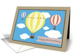 Happy Anniversary Hot Air Balloons card