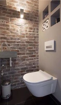 Space Saving Toilet Design for Small Bathroom - Home to Z Space Saving Toilet, Small Toilet Room, Guest Toilet, Downstairs Toilet, Basement Bathroom, Design Wc, House Design, Design Ideas, Bathroom Design Small