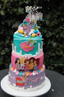 Lego Friends Cake, Lego Friends Birthday, Lego Friends Party, 9th Birthday Parties, Lego Birthday Party, Lego Parties, Cake Lego, Lego Lego, Lego Batman