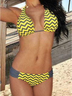 Sexy Halter Lace-Up Wave Print Women's Bikini Set #Swimwear #Bikini #Summer #Yellow #Fashion #Stylish