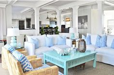Coastal Style: Beach House Decorating Tips; love this coffee table!