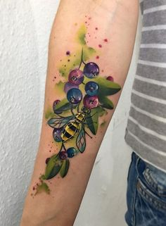Honey Bee With Fruit. A Bee collecting nectar from the fruit makes a perfect tattoo for the forearm.