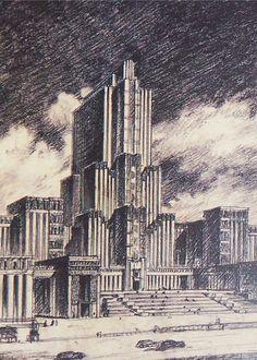 15. Проект Наркомтяжпрома в Зарядье, Б.М.Иофан, 1936