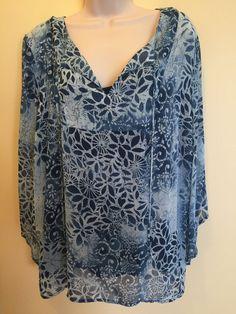 Women's RQT Plus  Size 2X Layered Blouse 3/4 Sleeve  Print EUC #RQT #Blouse