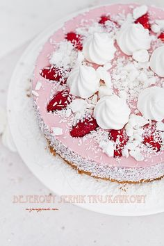 roasted strawberry cheesecake topped with coconut & meringue