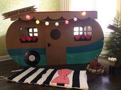 "Adorable DIY camper - the perfect ""play zone"" at an indoor camping-themed party! Camping has reinvented itself and has become mo. Camping Parties, Camping Themed Party, Retro Campers, Happy Campers, Cardboard Crafts, Cardboard Box Houses, Cardboard Playhouse, Project Nursery, Craft Activities"