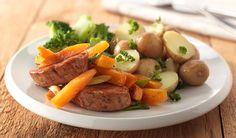 Het lekkerste Varkenshaas, kaki en krieltjes recept - Varkenshaas, kaki en krieltjes recept en andere lekkere en gezonde recepten vind je op Becel.nl