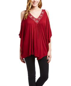 Look at this #zulilyfind! Ruby Cutout-Shoulder V-Neck Top #zulilyfinds