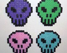 Candy-coated skull 8-bit Perler bead magnet