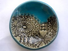 Turquoise and Lace bowl by ShoeHouseStudio on Etsy, $6.00