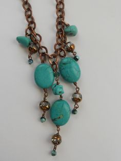 Princess length crystal copper and turquoise by SunshinesPush, $35.00