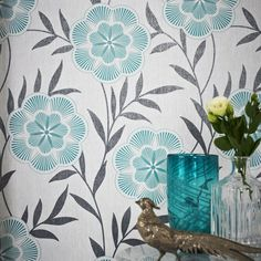 Flora Wallpaper in Teal design by Graham & Brown