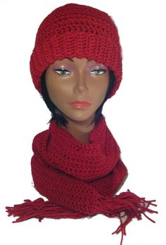 Crochet Hat and Scarf Set, Red Hat and Scarf Set, Beanie Style Crochet Hat with matching Scarf, Winter Hat and Scarf Set