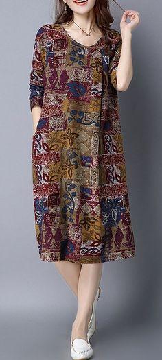 fe2bb07875cfe Women dress loose fit pocket flower Bohemian Boho long sleeve large size  tunic  unbranded