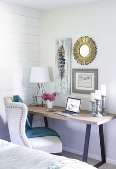 Spruce Up Your Office Space via Shades of Blue Interiors - Discover, a blog by World Market #bedroomhomeofficeideas