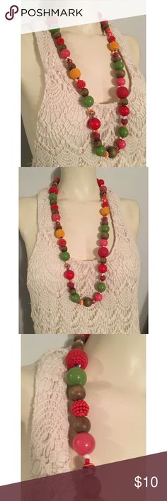 Vintage crochet beaded necklace Very anthro. Love it! Great bundle item. $10. No offers thank you. Non smoking home unknown Jewelry Necklaces