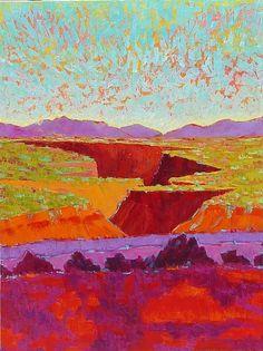 Michelle Chrisman - Contemporary Colorist Painter Way Out West On the Rio Grande, 40x30