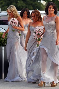Grey bridesmaids dresses - let each bridesmaids personality shine through in a different dress for each one. Perfect for a Silver/Grey and Cherry Blossom color scheme wedding.