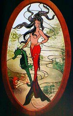 Mermaid with seahorse. Sea Faeries (Fairys) Stained Glass Pattern Book.