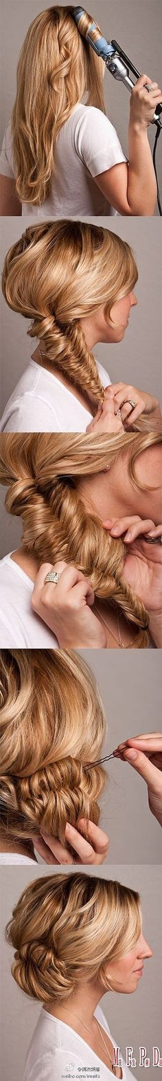 fish tail braid made easy with this great hair tutorial. Looks like you just need a curling iron and hair pins. Great Hair, Love Hair, Gorgeous Hair, Awesome Hair, Beautiful, My Hairstyle, Pretty Hairstyles, Wedding Hairstyles, Wedding Updo