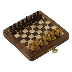 ajedrez de madera plegable de viaje y pedazos de madera magnético regalos inusuales del tablero: Amazon.es: Juguetes y juegos