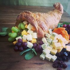 An edible bread Cornucopia that becomes your Thanksgiving Centerpiece!