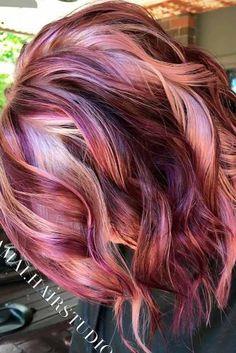 Bob Hair Color, Hair Color And Cut, Ombre Hair Color, Blonde Color, Cabelo Rose Gold, Violet Hair, Plum Hair, Burgundy Hair, Dark Hair