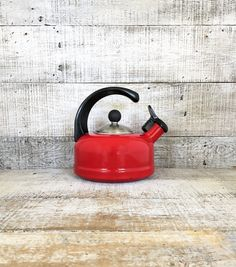 Enamel Tea Kettle Retro Red Metal Teapot with by TheDustyOldShack
