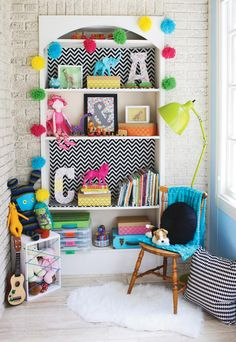 Patterned paper adds color behind shelves #splendidsplaces Toddler Rooms, Chevron Bookshelf, Playroom Shelves, Kids Bookcase, Bookshelves, Crate Storage, Sticky Paper, Green Lamp, Ballerina Doll