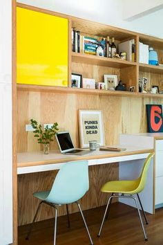Like this inbuilt ply desk and ply shelves with a splash of colour