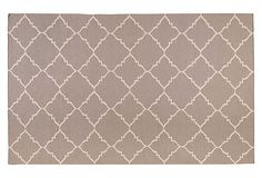combines my two loves - greige and quatrefoil. Athena Rug, Gray/White on OneKingsLane.com