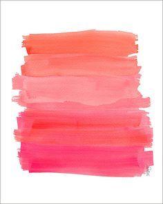 ombre watermelon pink stripe paint