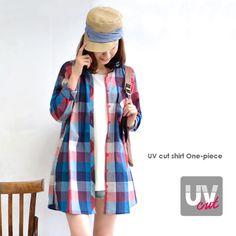 いつものようにコーデするだけで気軽に紫外線対策♪柔らかなシャツ地に紫外線吸収剤・紫外線錯乱剤を施した、ゆったりロングシャツチュニック/レディース/長袖/UV対策/日焼け対策◆UVカットシャツワンピース[柄]【楽天市場】