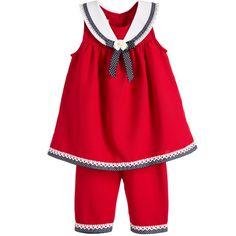 Bonnie Jean SS 2016 ***  Red & Blue, 2 Piece Sailor Dress & Shorts Set at Childrensalon.com