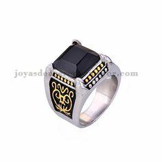 anillo de serie colegio piedra negra en acero plateado inoxidable - SSRGG371766