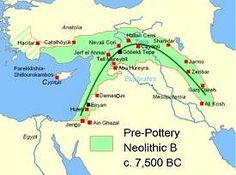 Pre-Pottery Neolithic B in the Fertile Crescent c.7,500 BC. Click to enlarge in pop-up window.
