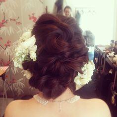 #ヘアセット#ヘアアレンジ#ヘアスタイル#ヘア#ブライダル#bridal#wedding #hair#編み込み#結婚式#ルーズアレンジ #かすみ草